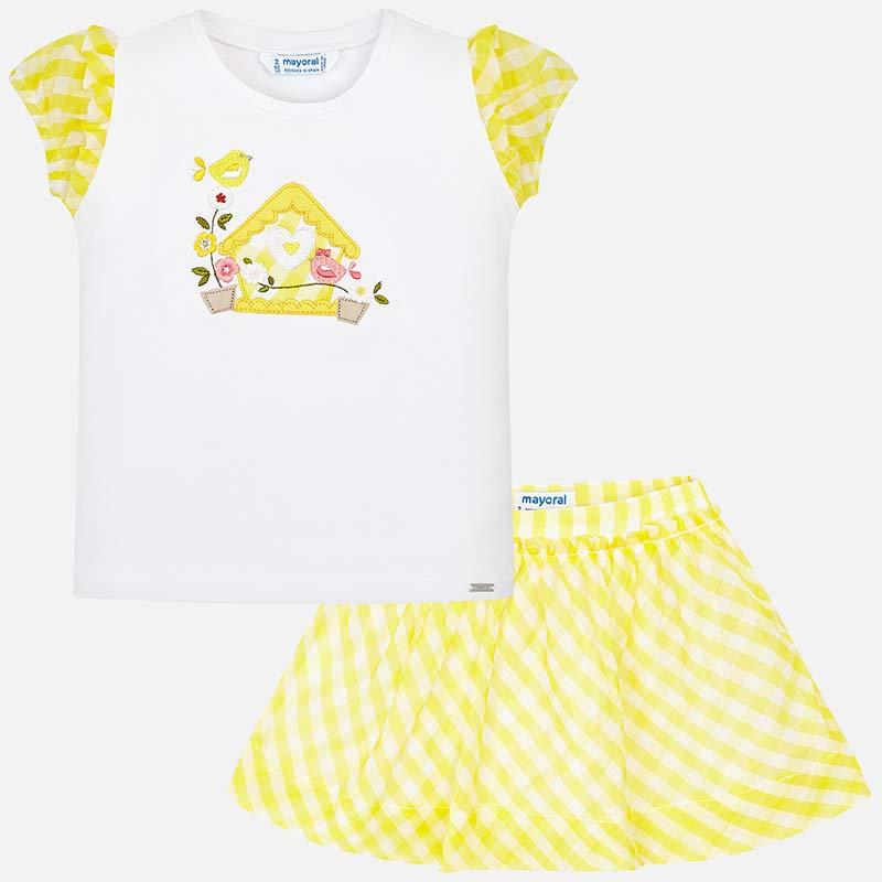 Conjunto camiseta y falda vichy niña