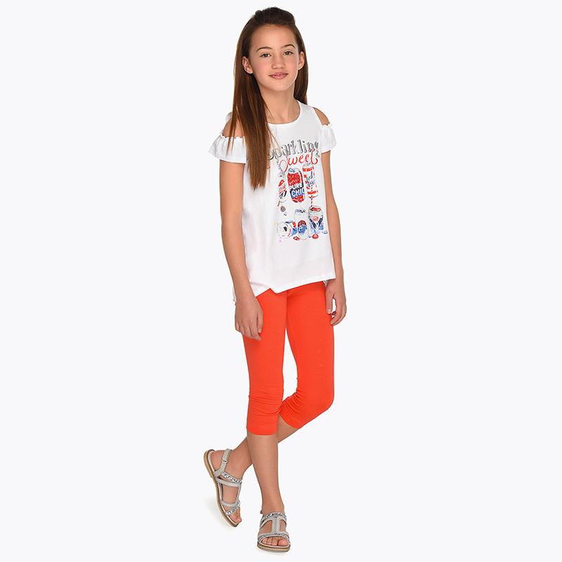 Conjunto leggings y camiseta hombros descubiertos niña