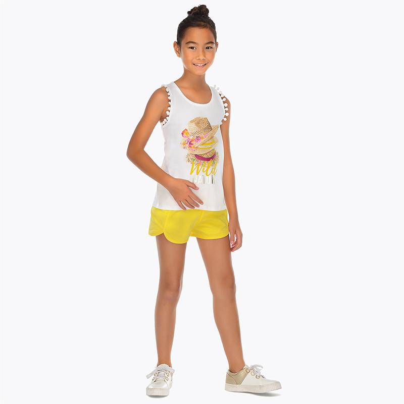 Conjunto camiseta y shorts sombreros niña